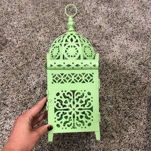 Super cute lime green lantern or candle holder